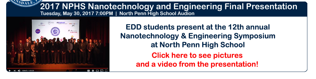 North Penn High School Engineering Academy seniors present at the Nanotechnology and Engineering Symposium in Tuesday, May 30, 2017 at North Penn High School