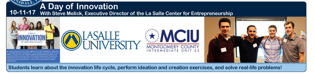 Students participate at the MCIU Day of Innovation with Steve Melick, Executive Diorector of the La Salle Center for Entrepreneurship